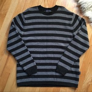 Patagonia Striped Gray Lambswool Crewneck Sweater